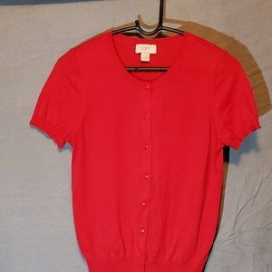 Red Short Sleeved Light Weight Cardigan